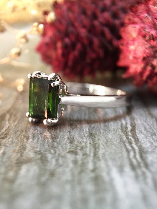 5x7MM Green Tourmaline Solitaire Engagement <Prong> Solid 14K White Gold (14KW) Colored Stone Wedding Ring