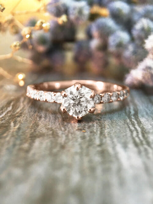 0.75CT Diamond Engagement <Prong> Solid 14K Rose Gold (14KR) Affordable Women's Wedding Ring