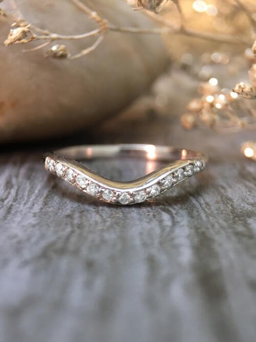 2.2MM Diamond Wavy Wedding Band <Pave> Solid 14K White Gold (14KW) Stackable Women's Engagement Ring