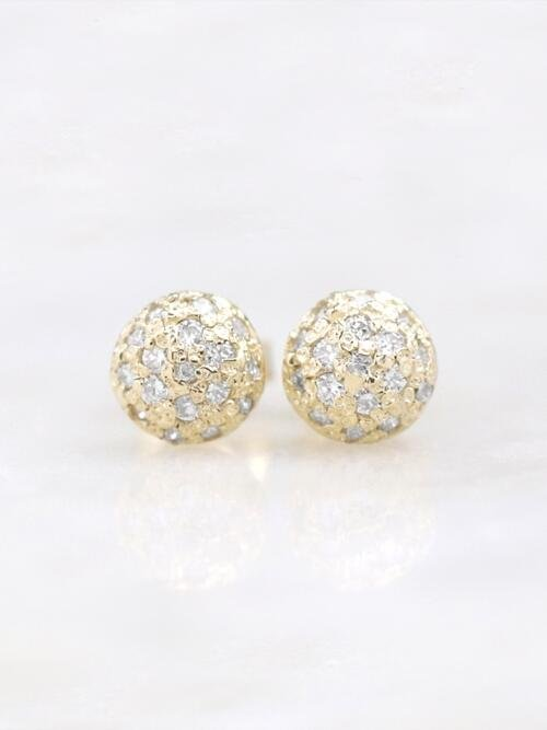 6.5x6.5MM Diamond Cluster Dome Stud <Pave> Solid 14K Yellow Gold (14KY) Earrings