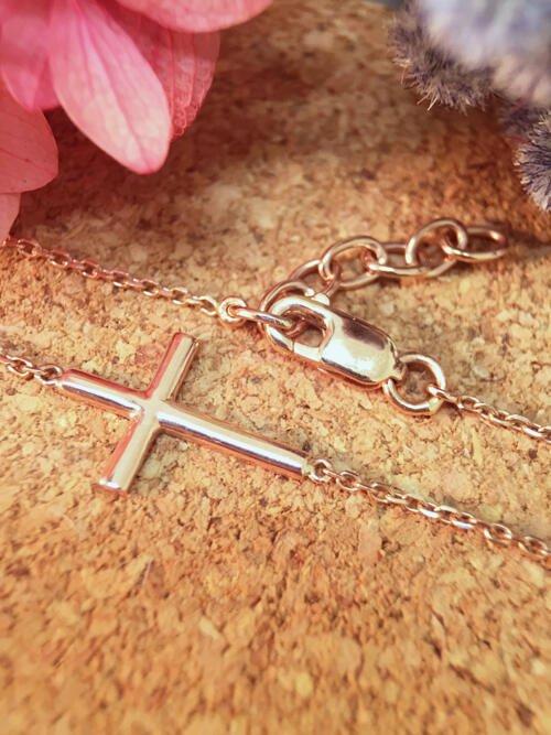 Cross Solid 14K Rose Gold (14KR) Religious Chain Bracelet