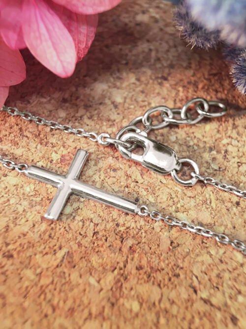 Cross Solid 14K White Gold (14KW) Religious Chain Bracelet