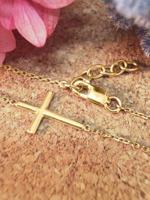 Cross Solid 14K Yellow Gold (14KY) Religious Chain Bracelet