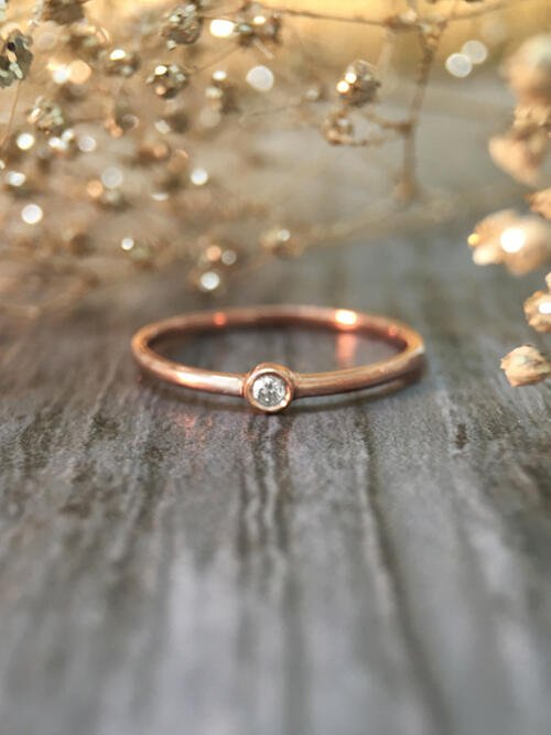 0.03CT Diamond Solitaire <Bezel> Solid 14K Rose Gold (14KR) Stackable Ring