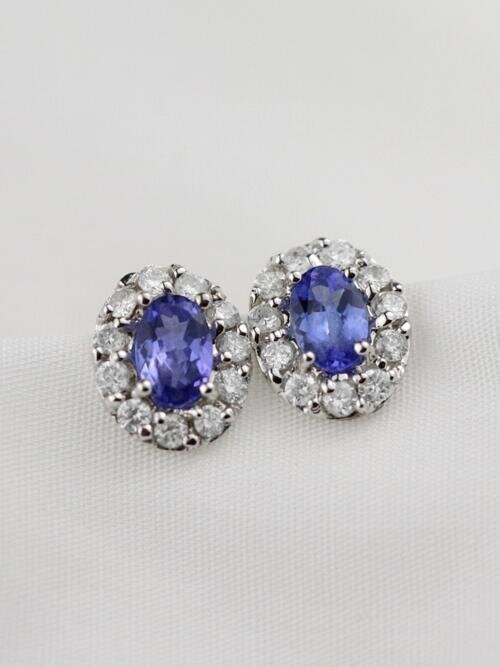 Tanzanite and Diamond Halo Stud <Prong> Solid 14K Rose Gold (14KR) Colored Stone Earrings