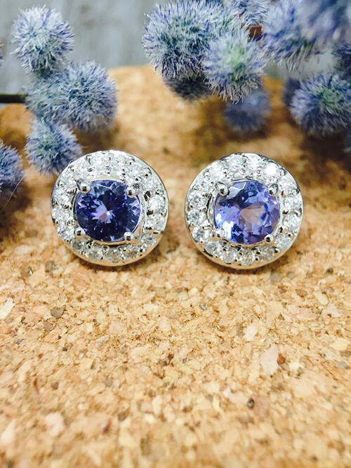 Tanzanite and Diamond Halo Stud <Prong> Solid 14K White Gold (14KW) Colored Stone Earrings