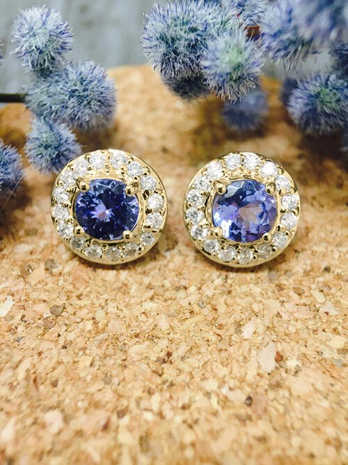 Tanzanite and Diamond Halo Stud <Prong> Solid 14K Yellow Gold (14KY) Colored Stone Earrings