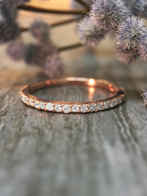 1.6MM Diamond Wedding Band <Prong> Solid 14K Rose Gold (14KR) Affordable Stackable Women's Engagement Ring
