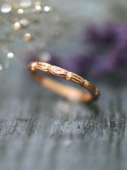 Woodland Wedding Band Solid 14K Rose Gold (14KR) Stackable Women's Engagement Ring