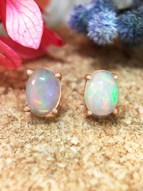 5x7MM Opal Stud <Prong> Solid 14K Rose Gold (14KR) Colored Stone Earrings
