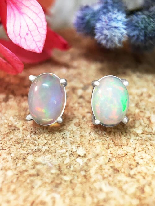 5x7MM Opal Stud <Prong> Solid 14K White Gold (14KW) Colored Stone Earrings