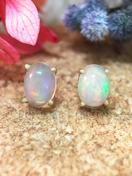 5x7MM Opal Stud <Prong> Solid 14K Yellow Gold (14KY) Colored Stone Earrings
