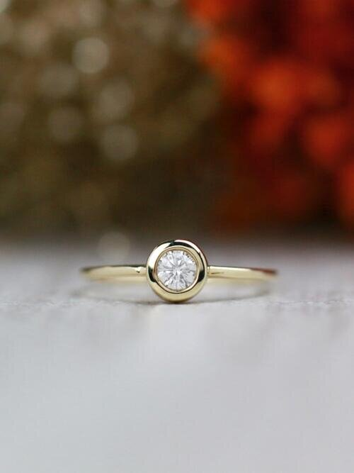 0.20CT Diamond Solitaire Engagement Solid 14K Rose Gold Stackable Wedding Ring