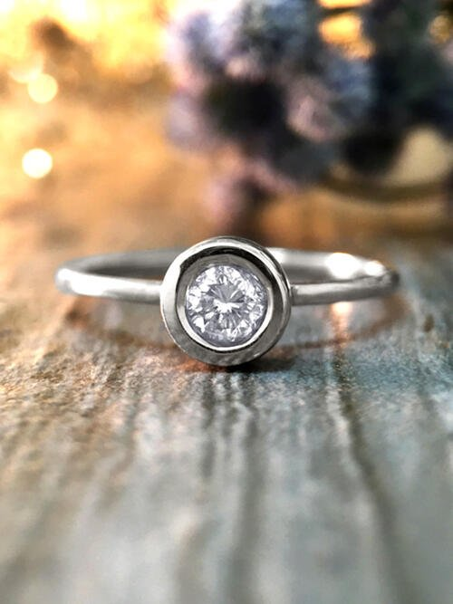 0.20CT Diamond Solitaire Engagement <Bezel> Solid 14K White Gold (14KW) Stackable Wedding Ring