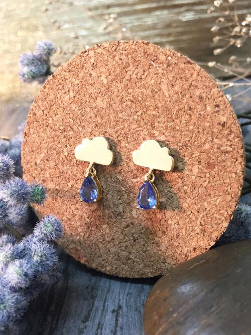 15x9MM Tanzanite Rain Cloud Dangle <Prong> Solid 14K Yellow Gold (14KY) Whimsical Colored Stone Earrings
