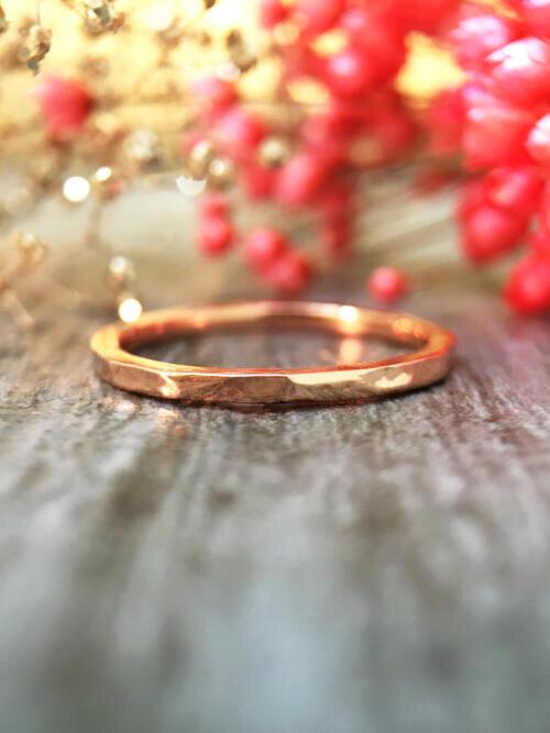 1.4MM Hammered Wedding Band Solid 14K Rose Gold (14KR) Minimalist Stackable Women's Engagement Ring