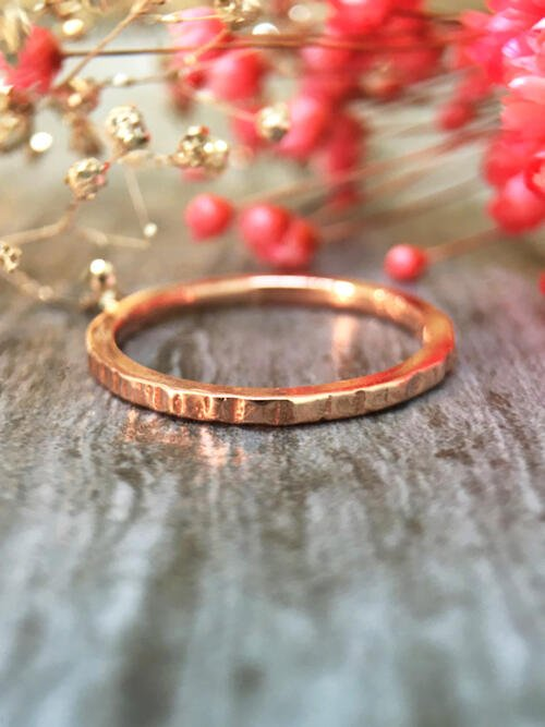 1.4MM Hammered Wedding Band Solid 14K Rose Gold (14KR) Minimalist Stackable Women's Engagement Ring