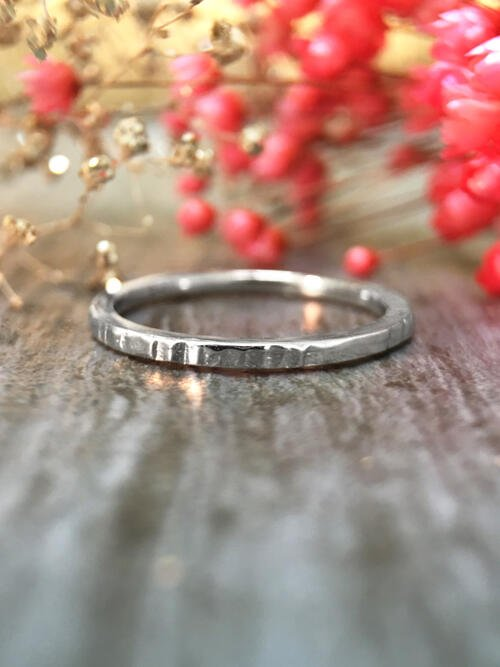 1.4MM Hammered Wedding Band Solid 14K White Gold (14KW) Minimalist Stackable Women's Engagement Ring