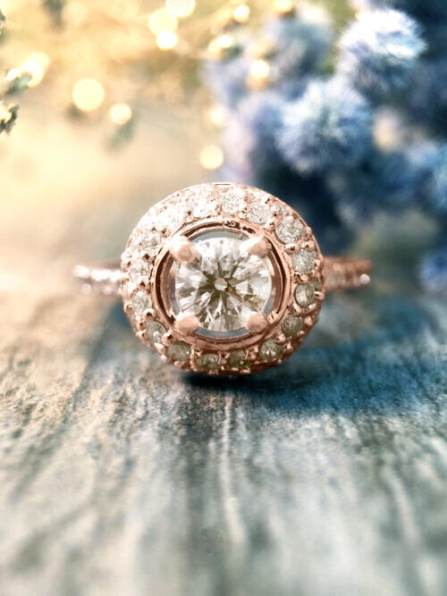 1CT Diamond Halo Dome Engagement <Prong> Solid 14K Rose Gold (14KR) Affordable Wedding Ring