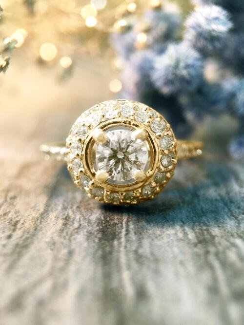 1CT Diamond Halo Dome Engagement <Prong> Solid 14K Yellow Gold (14KY) Affordable Wedding Ring