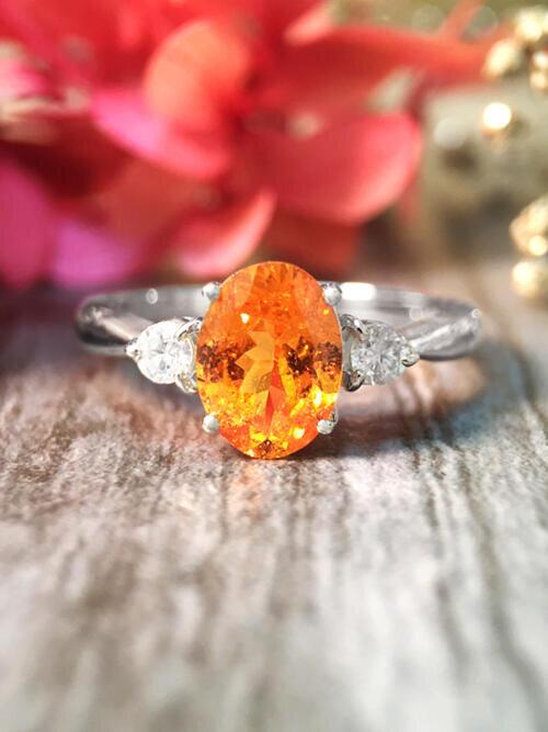 Mandarin Garnet and Diamond Solid 14K White Gold Ring