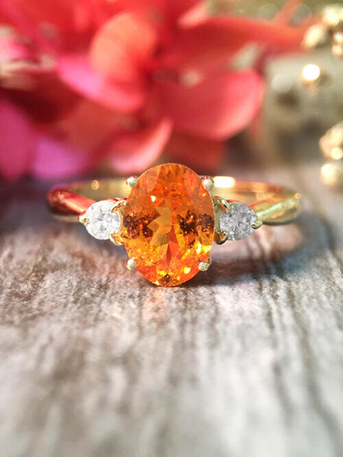 Mandarin Garnet and Diamond Solid 14K Yellow Gold Ring