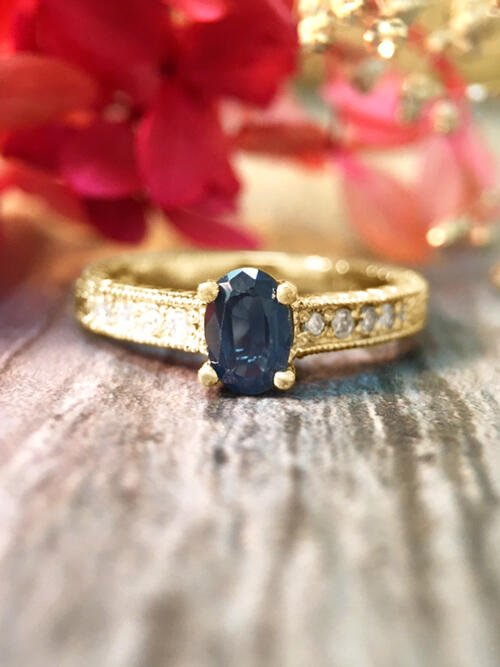 6x4MM Blue Sapphire and Diamond Engagement <Prong> Solid 14K Yellow Gold (14KY) Colored Stone Wedding Ring