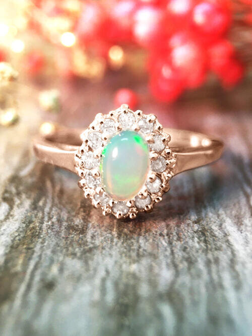 Opal and Diamond Halo Engagement <Prong> Solid 14K Rose Gold (14KR) Affordable Colored Stone Wedding Ring