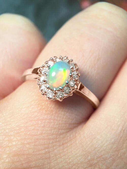 Fine Jewelry Opal And Diamond Halo Engagement Solid 14k
