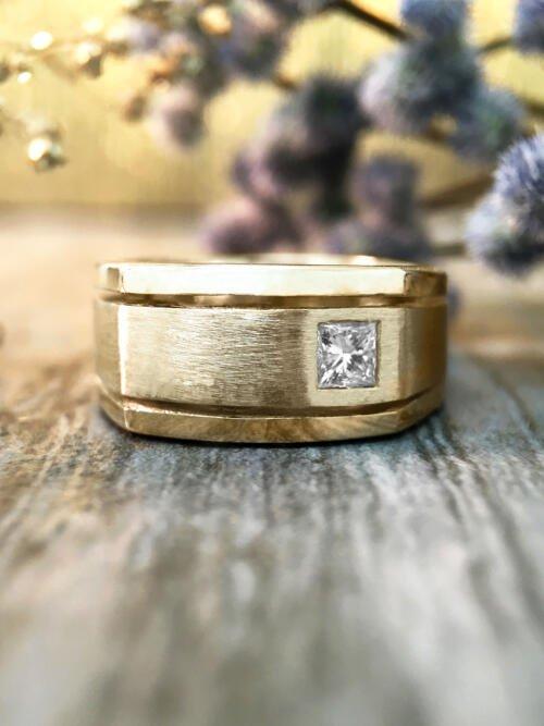 8.5MM Diamond Satin Finish with Polished Rim Wedding Band <Bezel> Solid 14K Yellow Gold (14KY) Men's Ring
