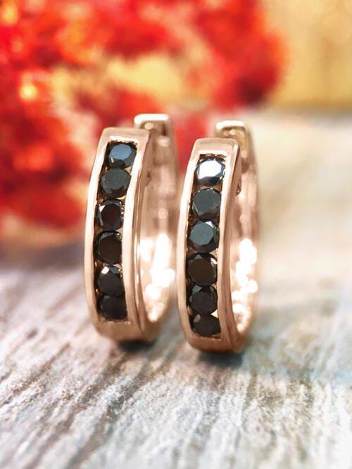 16MM Black Diamond Hoop <Channel> Solid 14K Rose Gold (14KR) Huggie Earrings