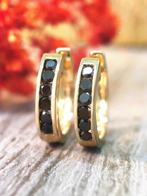 16MM Black Diamond Hoop <Channel> Solid 14K Yellow Gold (14KY) Huggie Earrings