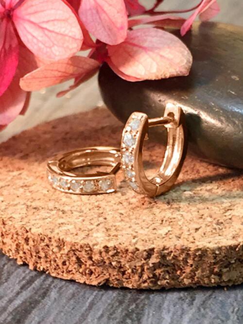 9.5MM Diamond Hoop <Pave> Solid 14K Rose Gold (14KR) Minimalist Petite Piercing Earrings
