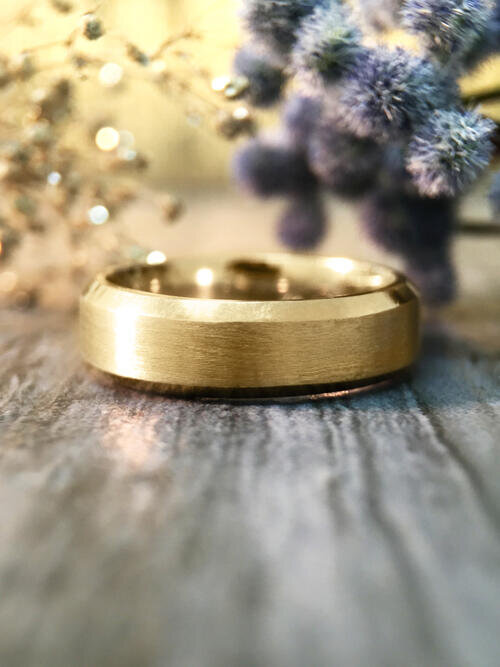 5.5MM Bevelled Satin Finish Wedding Band Solid 14K Yellow Gold (14KY) Modern Men's Engagement Ring