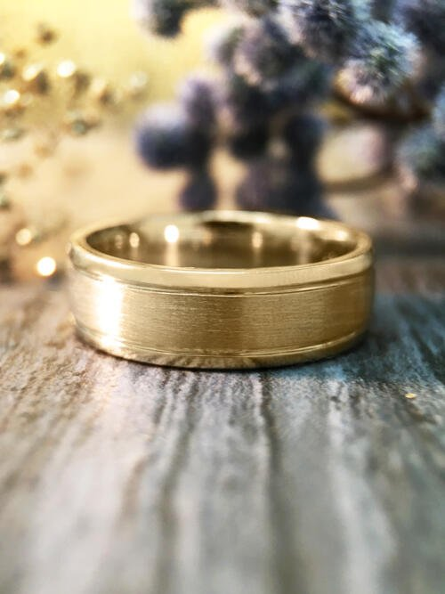 6MM Satin Finish with Polished Rim Wedding Band Solid 14K Yellow Gold (14KY) Modern Men's Engagement Ring