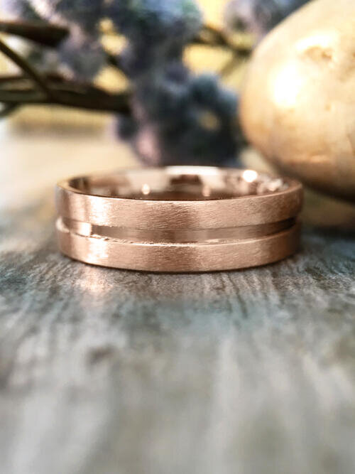 6MM Satin Finish with Polished Center Wedding Band Solid 14K Rose Gold (14KR) Modern Men's Engagement Ring