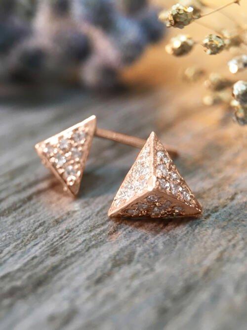 7x8MM Diamond Cluster Pyramid Stud <Pave> Solid 14K Rose Gold (14KR) Geometric Earrings