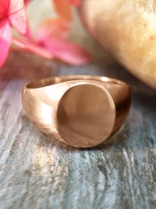 9x8MM Signet with Initial Option Available Solid 14K Rose Gold (14KR) Unisex Ring