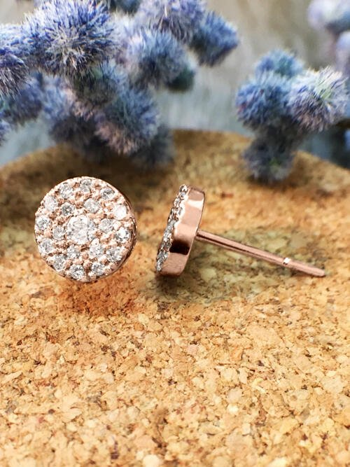 7.5x7.5MM Diamond Cluster Disk Stud <Pave> Solid 14K Rose Gold (14KR) Earrings