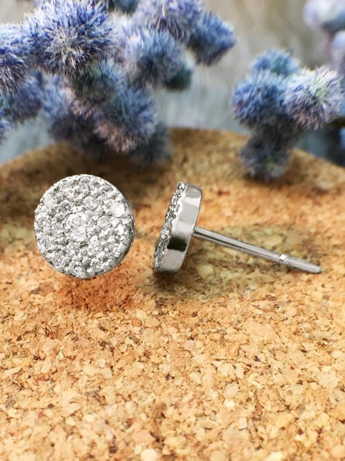 7.5x7.5MM Diamond Cluster Disk Stud <Pave> Solid 14K White Gold (14KW) Earrings