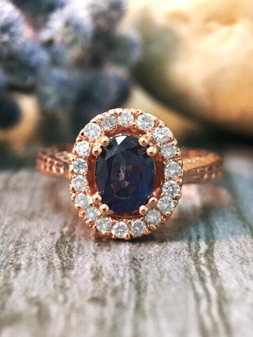 Blue Sapphire and Diamond Halo Filigree Shank Engagement <Prong> Solid 14K Rose Gold (14KR) Wedding Ring