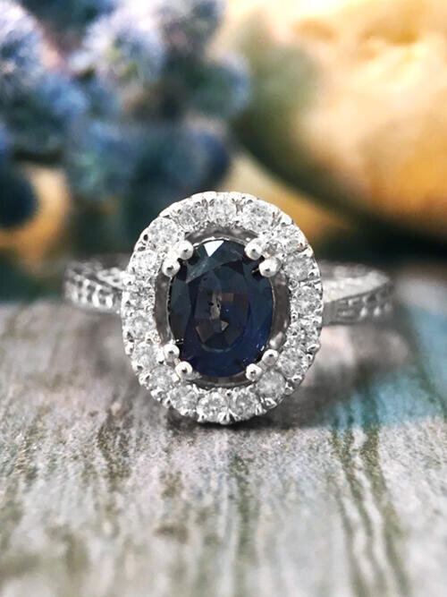 Blue Sapphire and Diamond Halo Filigree Shank Engagement <Prong> Solid 14K White Gold (14KW) Wedding Ring