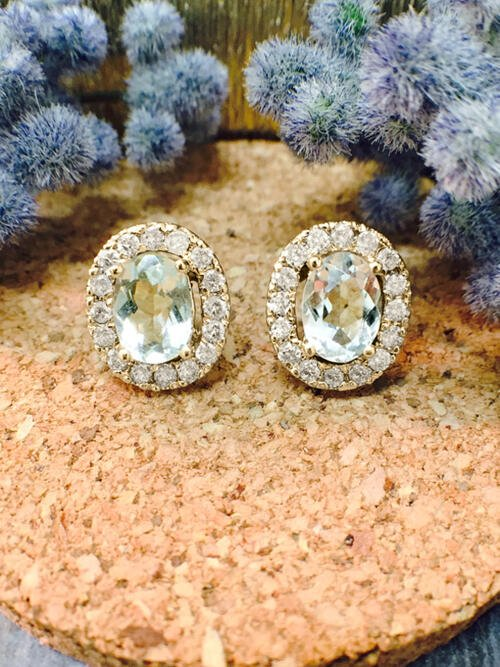 Aquamarine and Diamond Halo Stud <Prong> Solid 14K Yellow Gold (14KY) Colored Stone Earrings