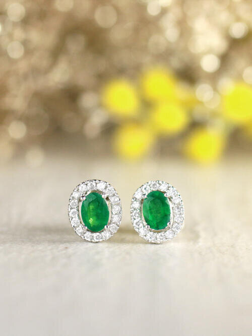 Emerald and Diamond Halo Stud <Prong> Solid 14K Rose Gold (14KR) Colored Stone Earrings