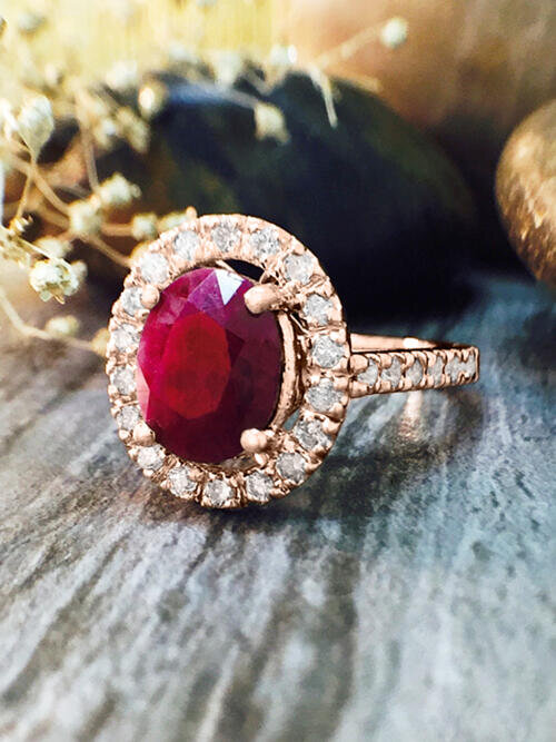 Ruby and Diamond Halo Engagement <Prong> Solid 14K Rose Gold (14KR) Affordable Colored Stone Wedding Ring
