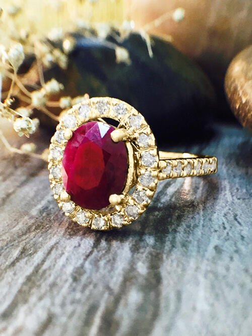 Ruby and Diamond Halo Engagement <Prong> Solid 14K Yellow Gold (14KY) Affordable Colored Stone Wedding Ring