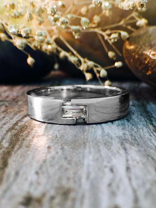 4-4.5MM Baguette Diamond Wedding Band <Modified Bezel> Solid 14K White Gold (14KW) Men's Ring