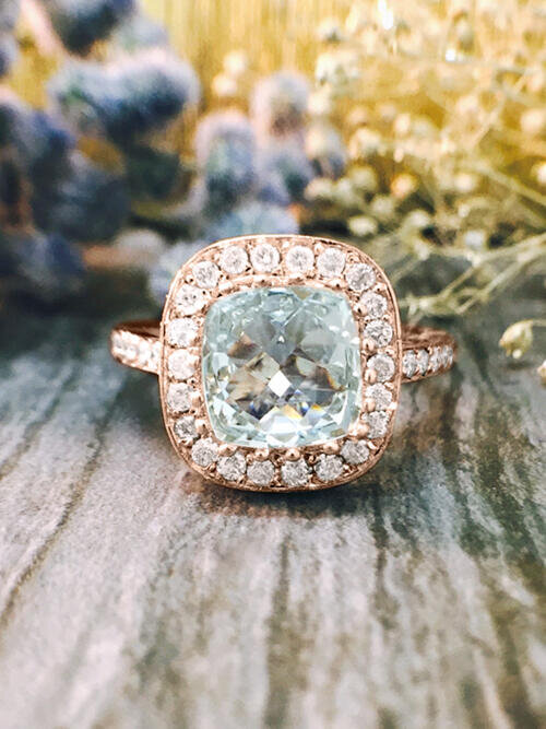 Aquamarine and Diamond Halo Engagement <Prong/Pave> Solid 14K Rose Gold (14KR) Colored Stone Wedding Ring