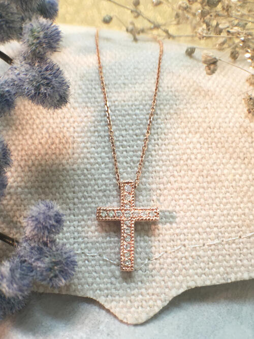 Cross Diamond Pendant <Pave> Solid 14K Rose Gold (14KR) with Bonus 14KR Chain Religious Necklace