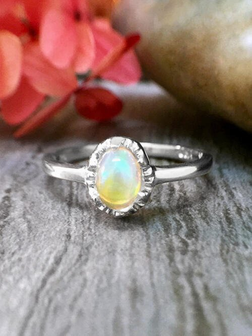 6x4MM Opal <Modified Prong> Solid 14K White Gold (14KW) Affordable Colored Stone Wedding Ring